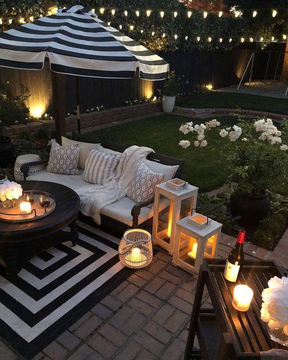 candles backyard decor