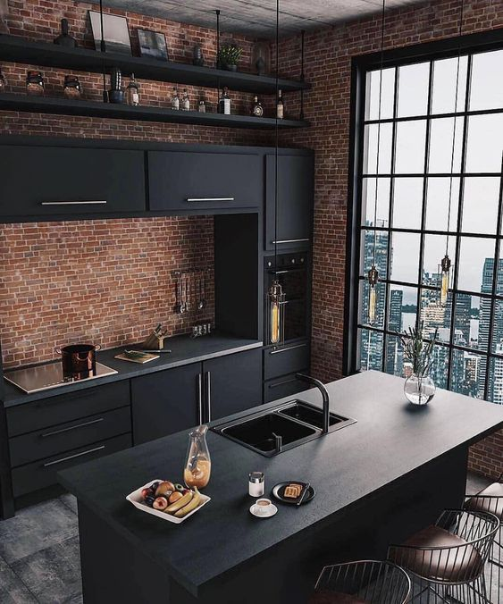 dark concept industrial kitchen design