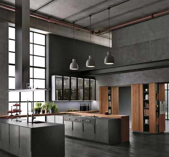 concrete industrial kitchen design