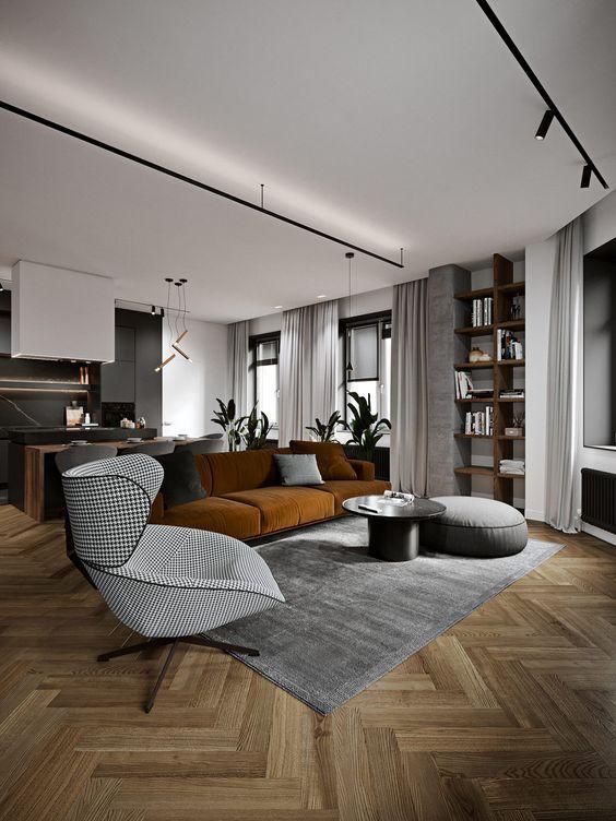 minimalist room with wooden floor