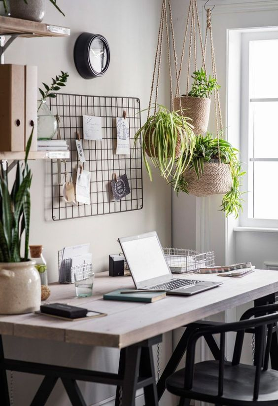 comfortable workspace with wire wall grid