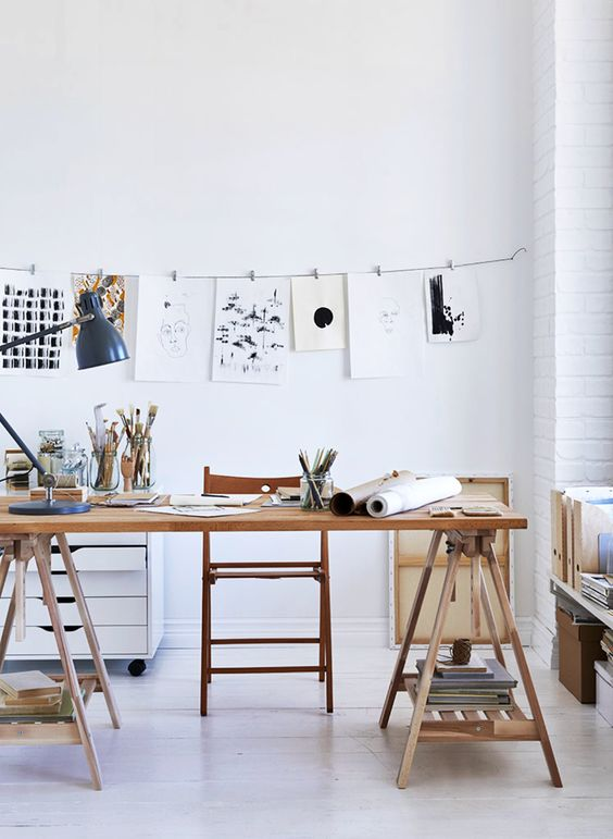 pleasant and artsy workspace