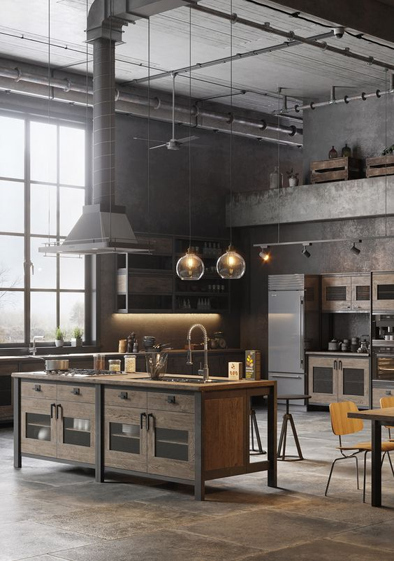 exposed pipes industrial kitchen