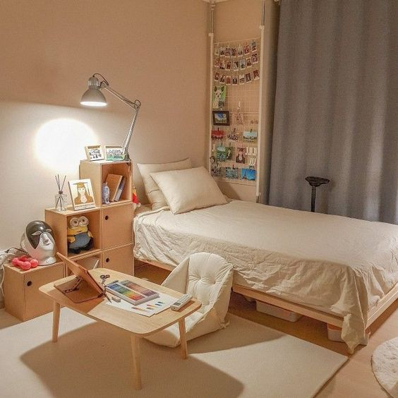 korean bedroom with low-profile bed