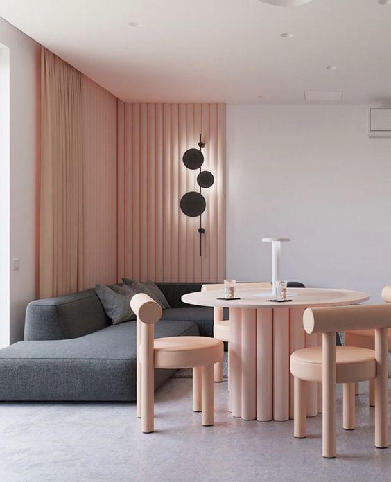 soft pink minimalist room design