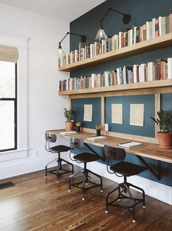 workspace floating wall shelf