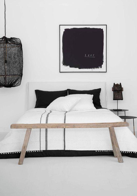 monochrome scandinavian bedroom