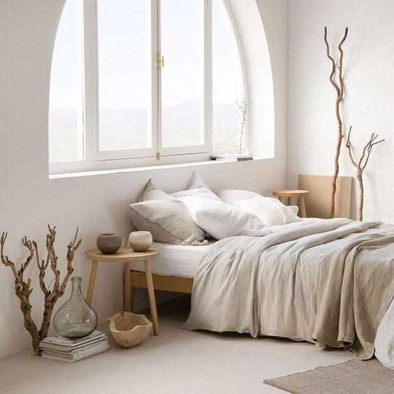 warm scandinavian bedroom appearance