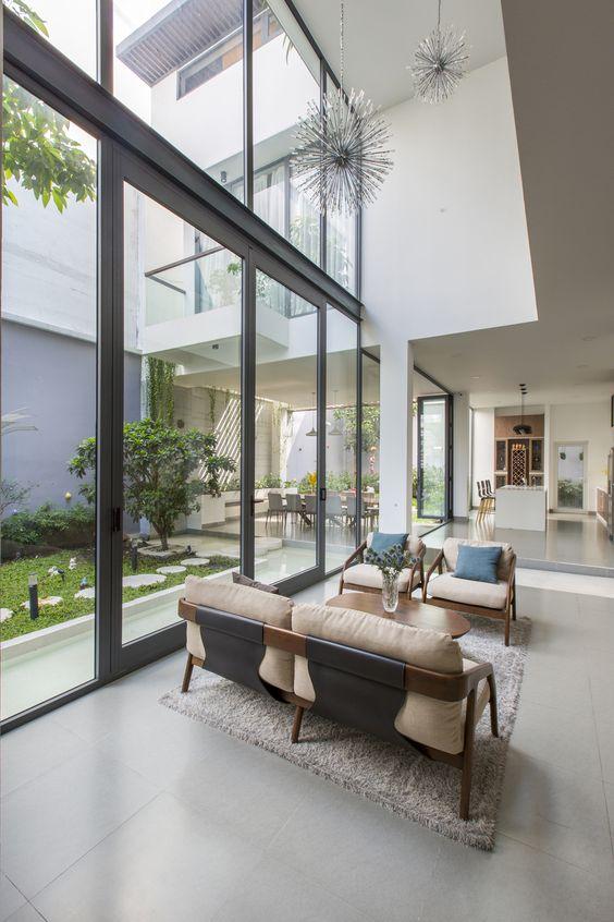 minimalist modern house open-concept garden