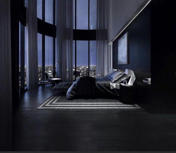 masculine black bedroom