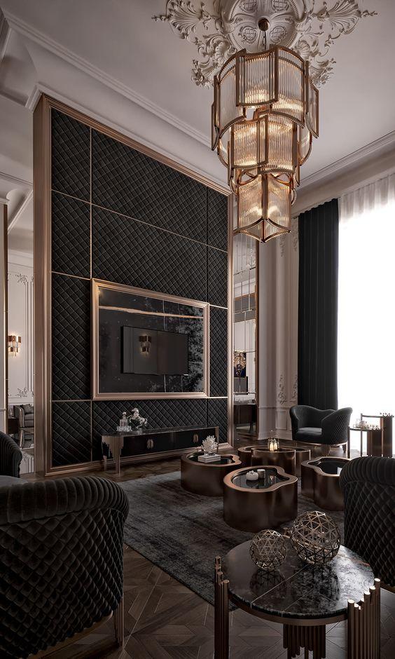 luxury black living room