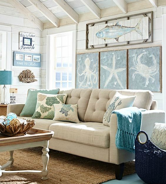 coastal living room wall decor ideas