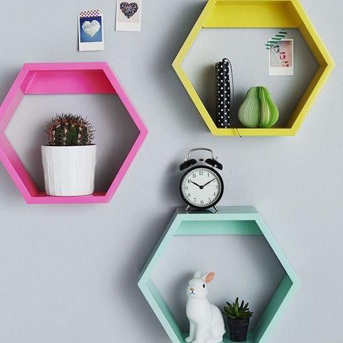 colorful floating shelf