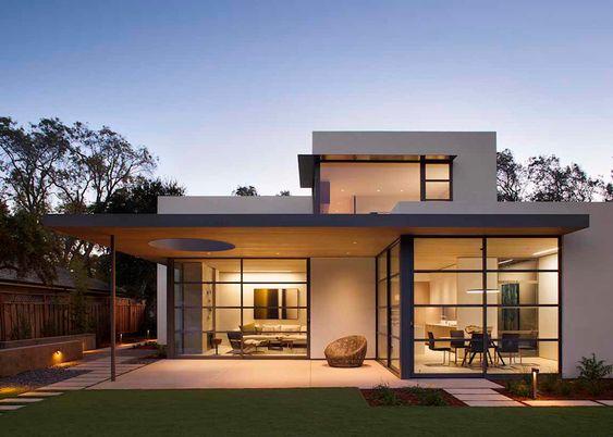 minimalist modern house glass facade