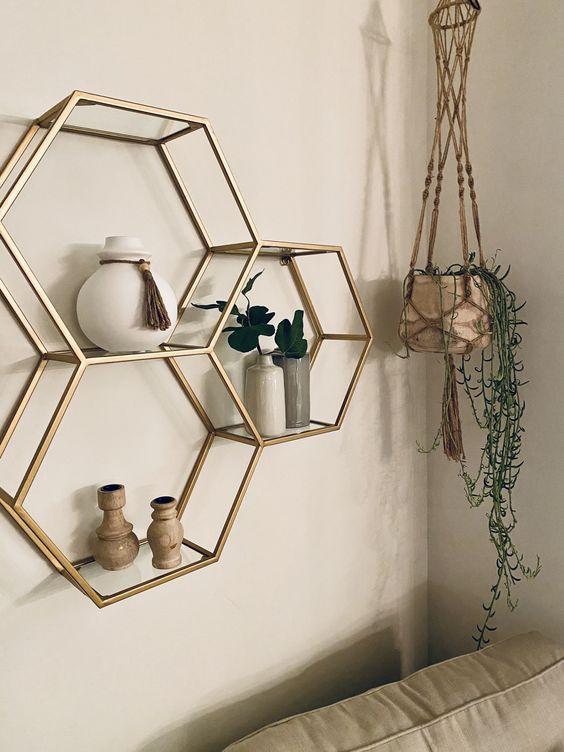 modern hexagon floating shelf wall decor ideas