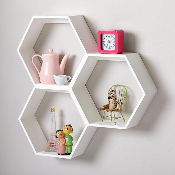 white hexagon wall living room decor