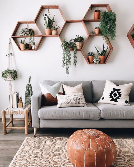 hexagon floating shelf ideas