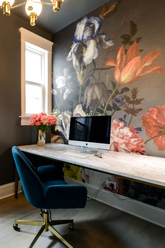 home office wall mural