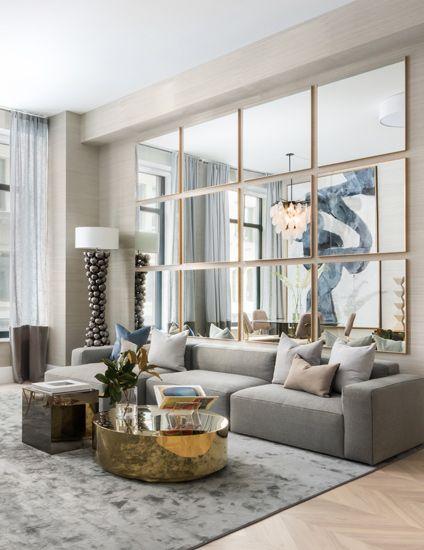 mirror wall living room idea