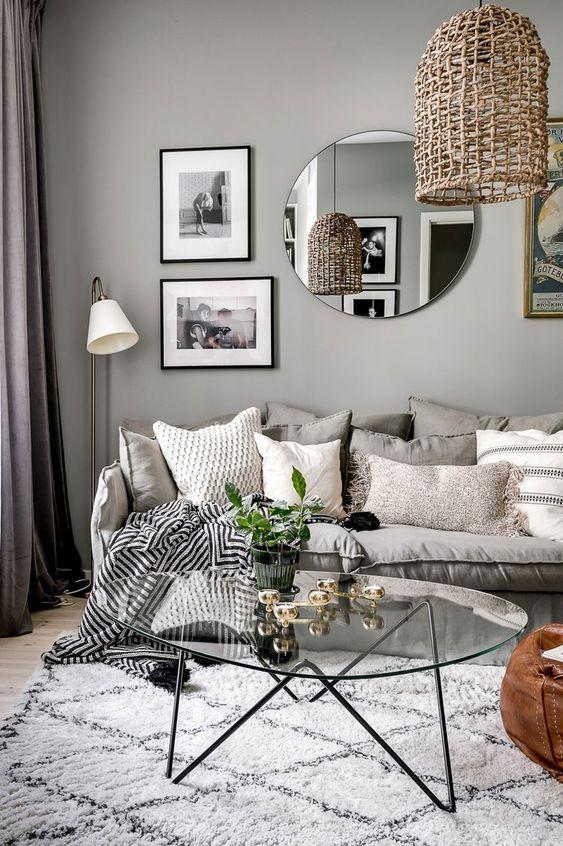 circle-shaped mirror living room decor