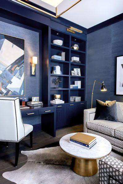 navy luxury home office