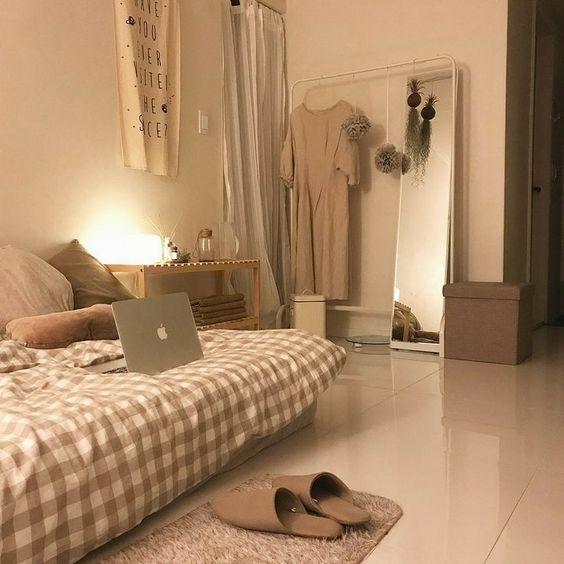 calm korean bedroom