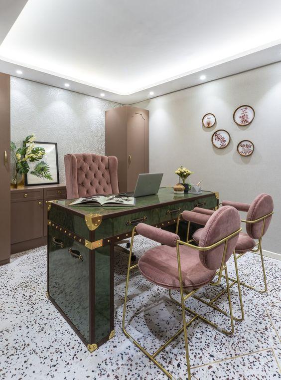 feminine and fresh luxury home office