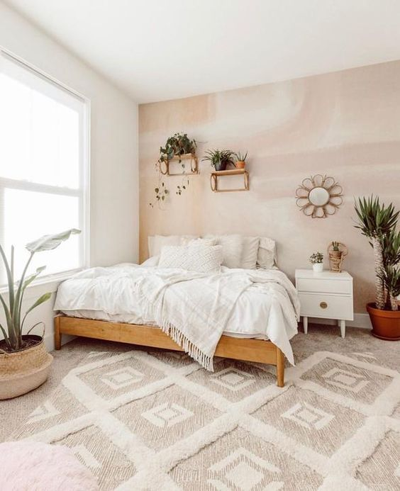 pink neutral colors interior