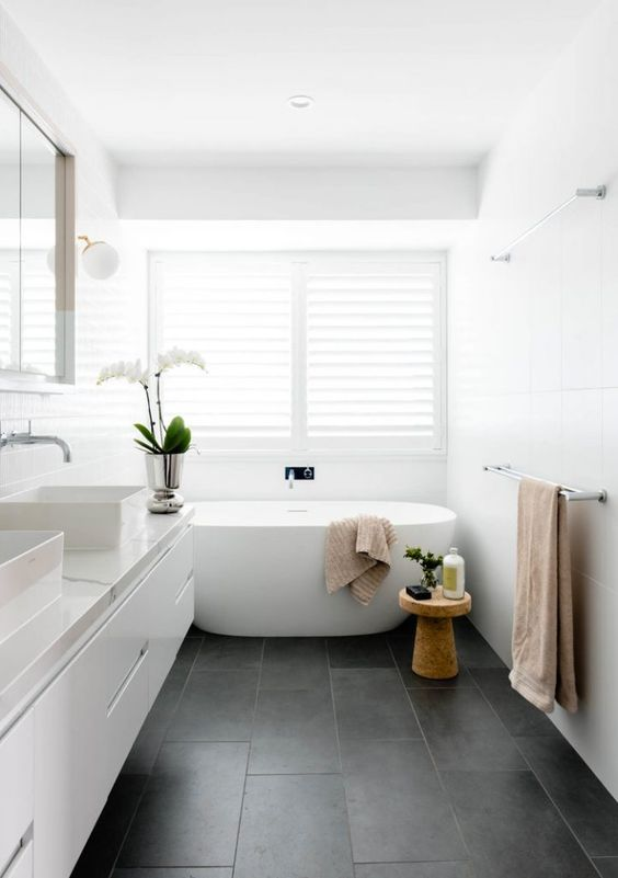 white neutral colors bathroom