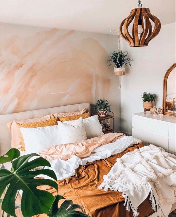 orange boho bedroom