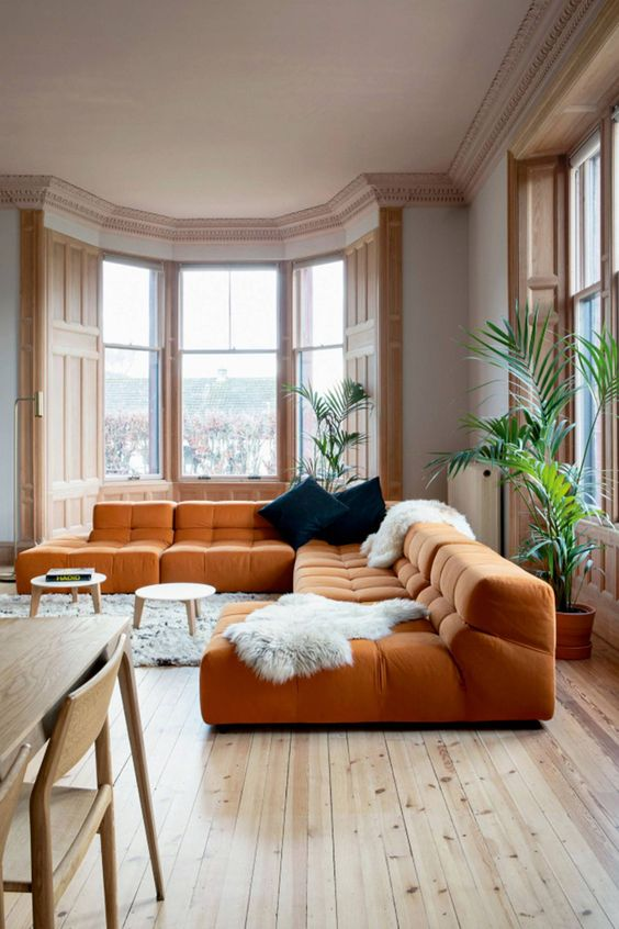 classy orange room