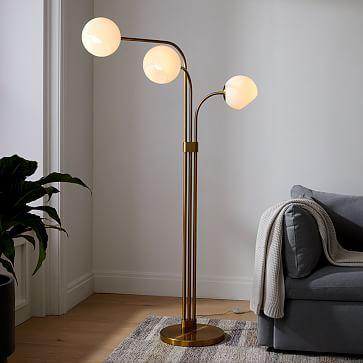 Staggered Glass 3-Light Adjustable Floor Lamp