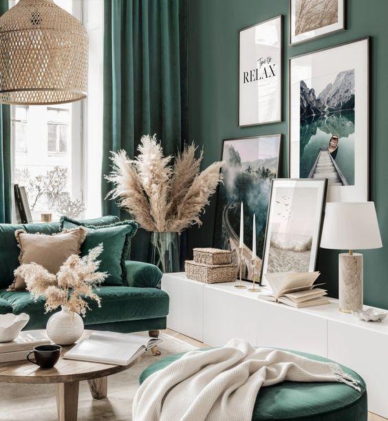calm green living room ideas