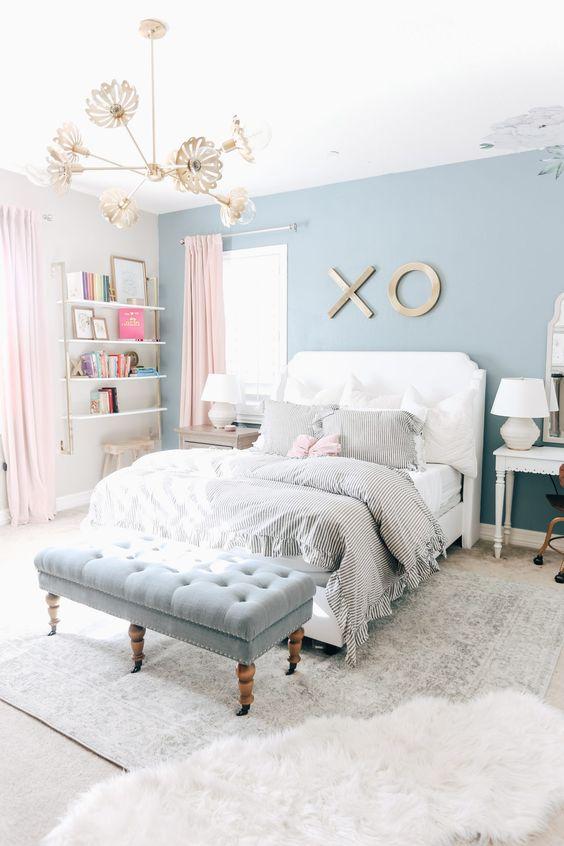 blue pastel teen bedroom decors