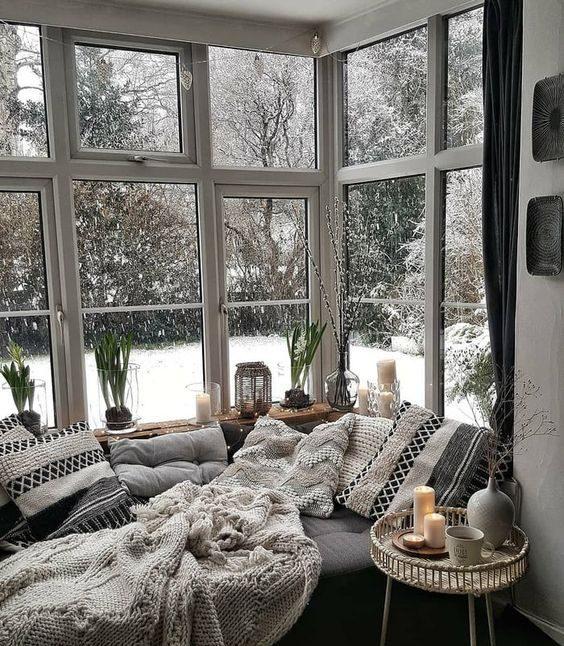 winter window bay seat