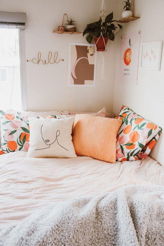 peach teen bedroom decors