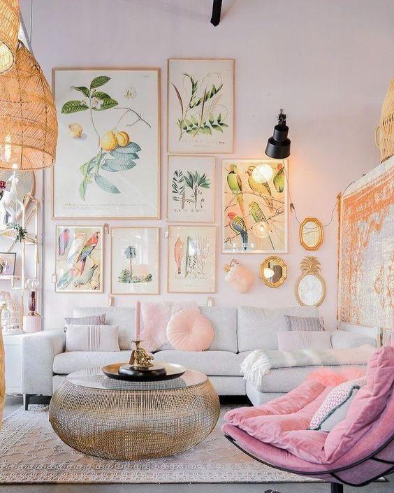 fresh pink living room