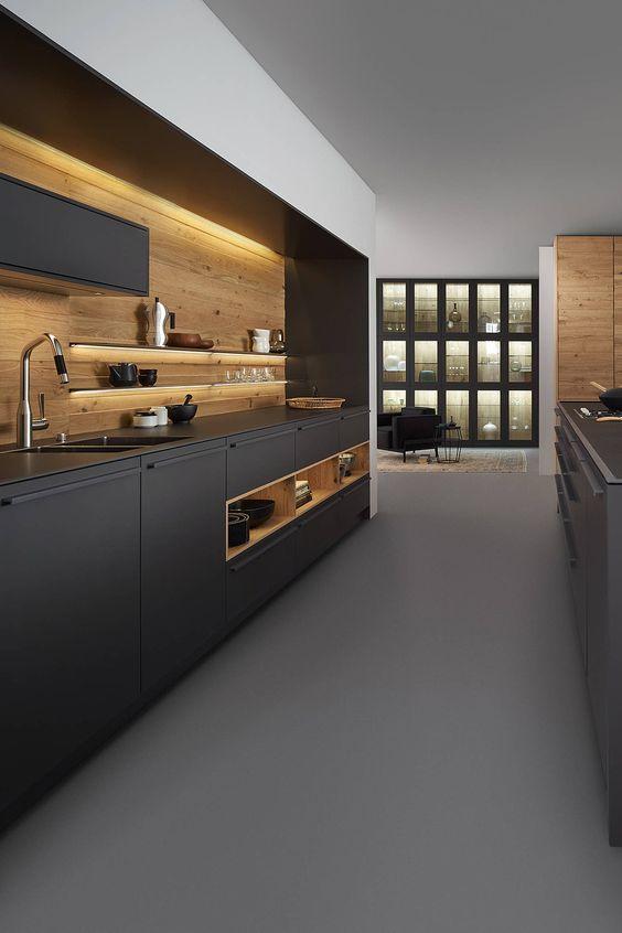 dark modern kitchen concept
