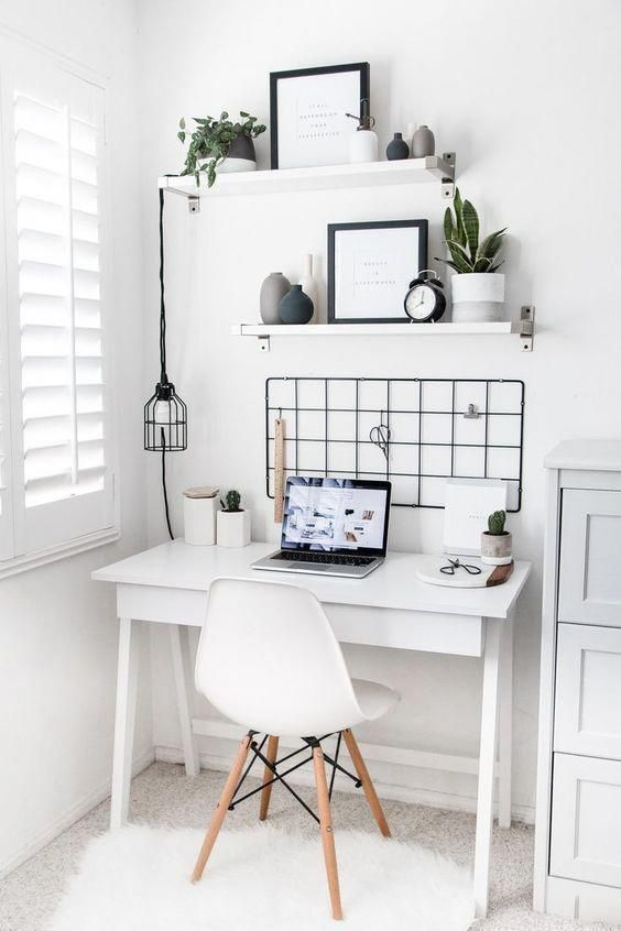 white nuances small workspace