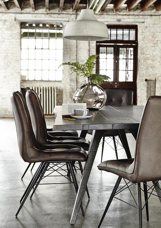 simple industrial dining room