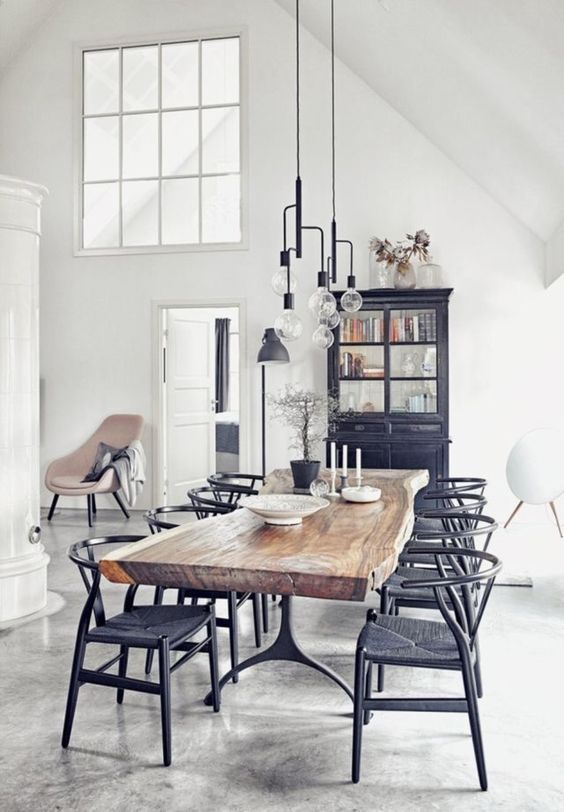 white industrial dining room