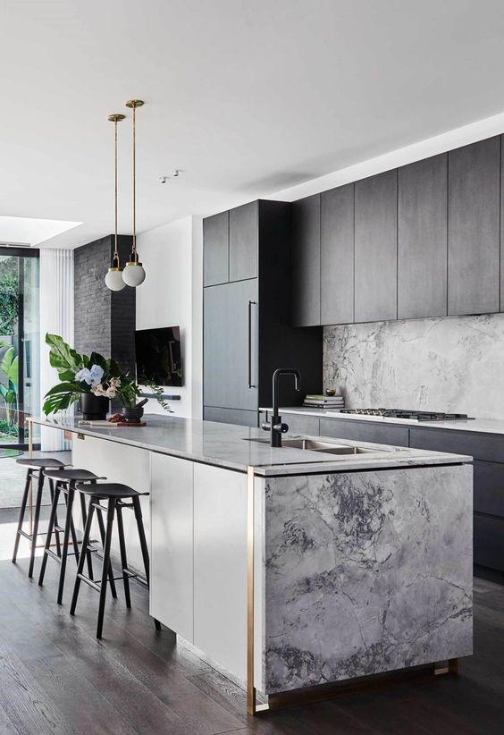 gray and black modern kitchen