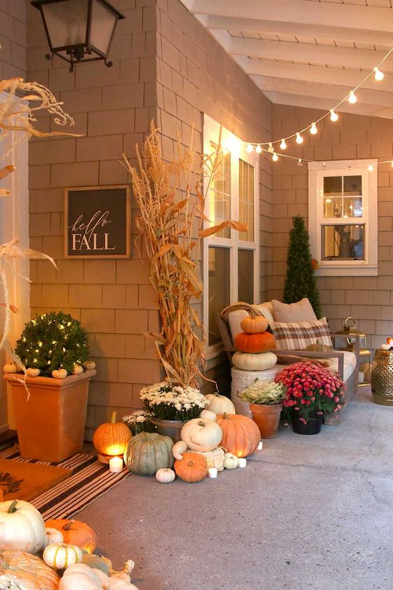 ideas to decorate your home with pumpkins