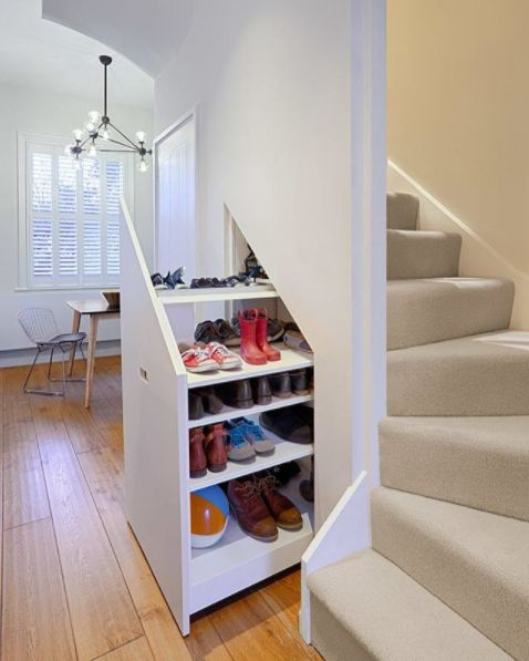 utilizing space under the stairs