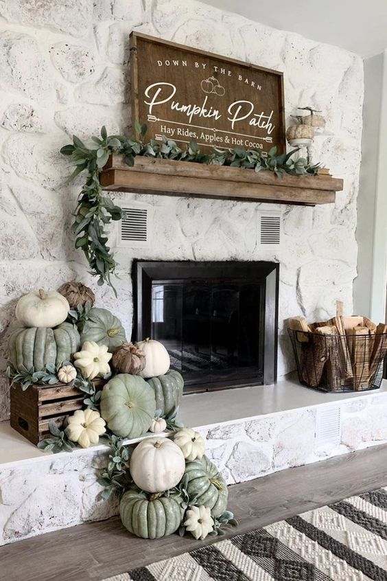 Decorate Fireplace with Pumpkins