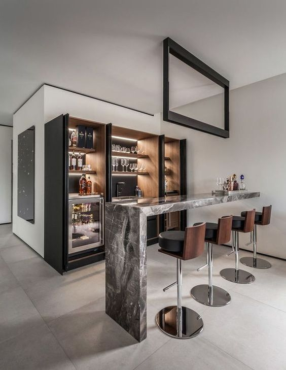 simple and modern home bar