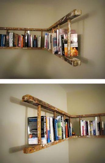 bookshelf ladder DIY ideas
